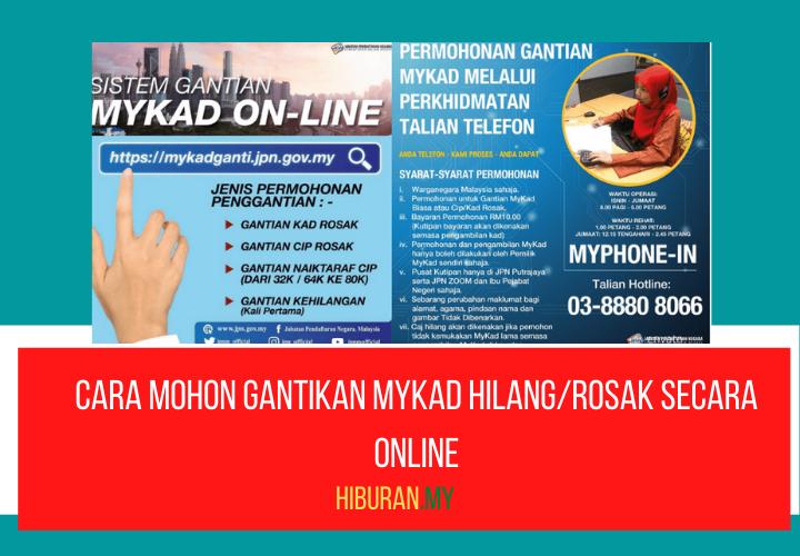 Cara mohon gantikan MyKad HilangRosak secara online
