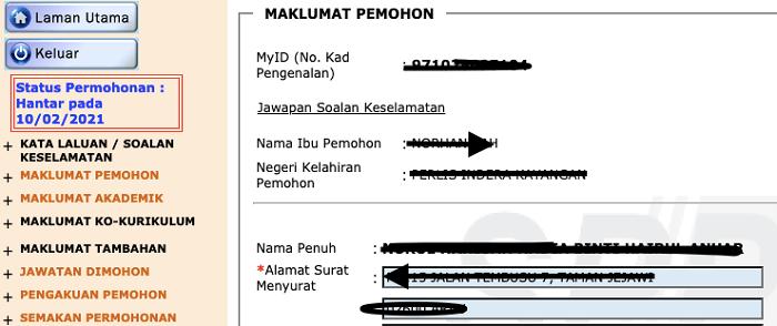 Maklumat pemohon MySPP