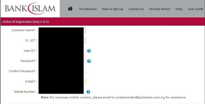 pendaftaran online banking bank islam