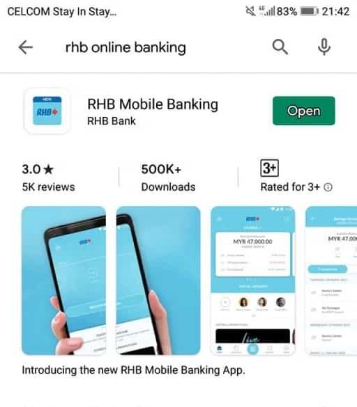Aplikasi RHB mobile Banking